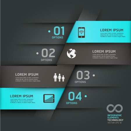 computer tech: Abstract infographics communication technology origami style options banner  Vector illustration  can be used for workflow layout, diagram, number options, step up options, web design