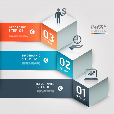cube: Modern Business step options  Vector illustration  can be used for workflow layout, diagram, number options, step up options, web design, infographics, banner