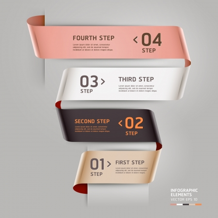 option: Abstract step up options ribbon style. Vector illustration. can be used for workflow layout, diagram, number options, step up options, banner, web design, infographics template. Illustration