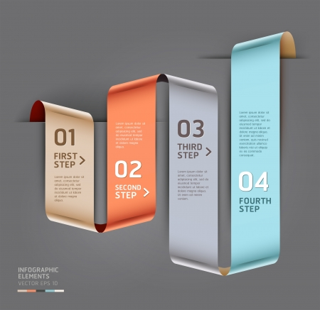 Abstract step up options ribbon style  Vector illustration  can be used for workflow layout, diagram, number options, step up options, banner, web design, infographics template Stock Vector - 18640943