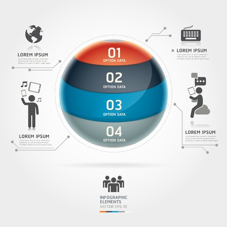 Abstract globe infographics communication technology element template Vector illustration can be used for workflow layout, diagram, number options, step up options, web design, banner