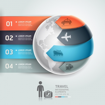 transportation travel: Abstract globe infographics travel transportation element template  Vector illustration  can be used for workflow layout, diagram, number options, step up options, web design, banner