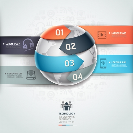 Abstract globe infographics network technology element template illustration  can be used for workflow layout, diagram, number options, step up options, web design, banner