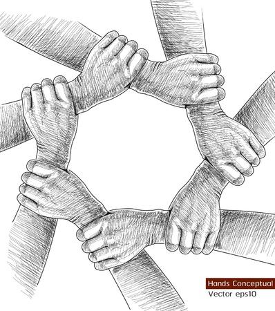 juntos: Mãos de desenho conceptual