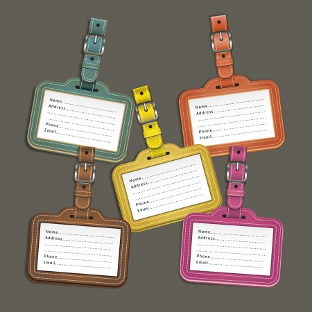 name tags: Leather luggage tags labels. Vector illustration
