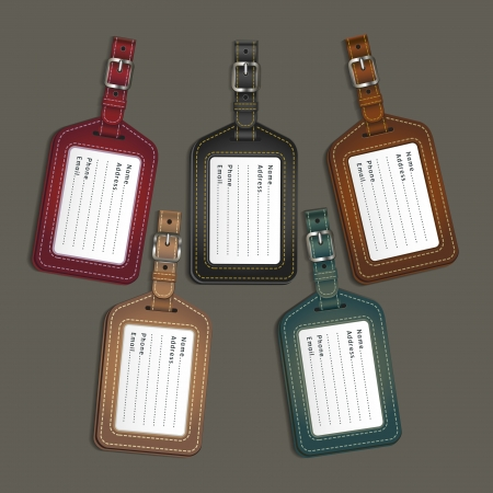 identify: Leather luggage tags labels. Vector illustration