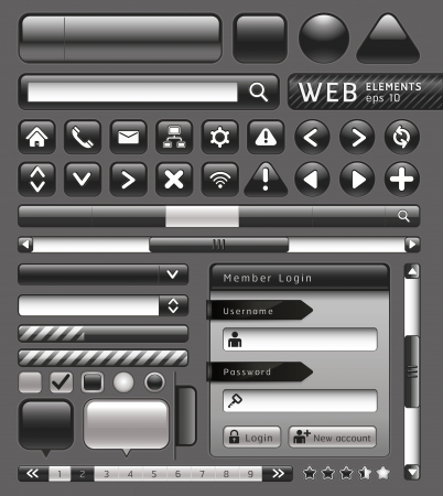 web page elements: Blank buttons for website and app. Vector illustration