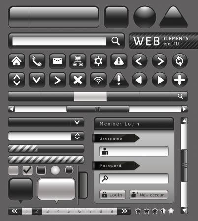 navegacion: Botones en blanco para el sitio web y app. Ilustraci�n vectorial Vectores
