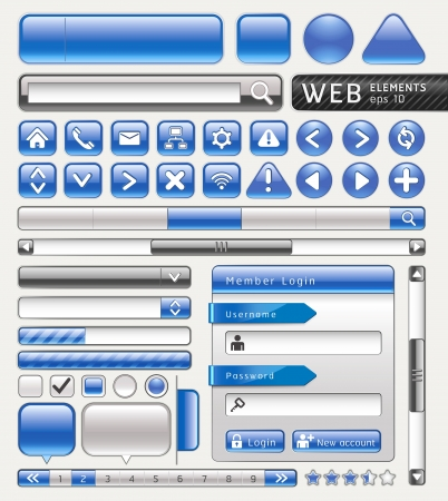 pagination: Blank buttons for website and app. Vector illustration