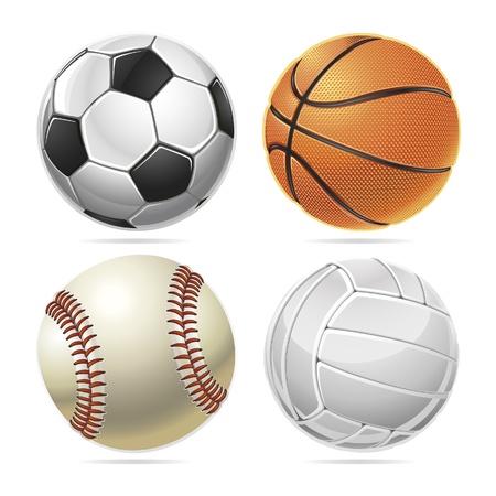 balonmano: Conjunto de las bolas del deporte. Ilustración vectorial