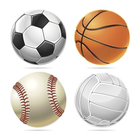 baseball ball: Set of Sport balls. Vector illustration