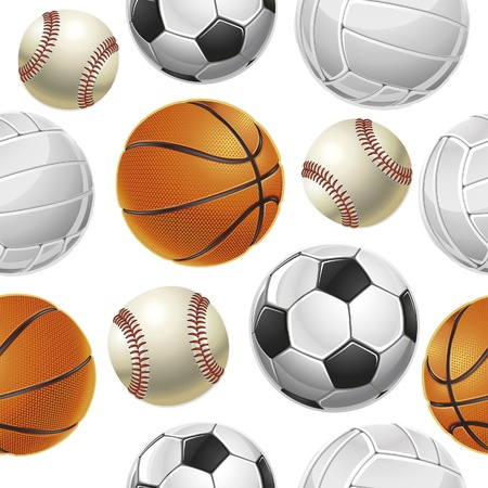 Sport Balls Set Seamless pattern. Vector illustration Vector