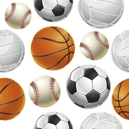 Sport Balls Set Seamless pattern. Vector illustration Illustration