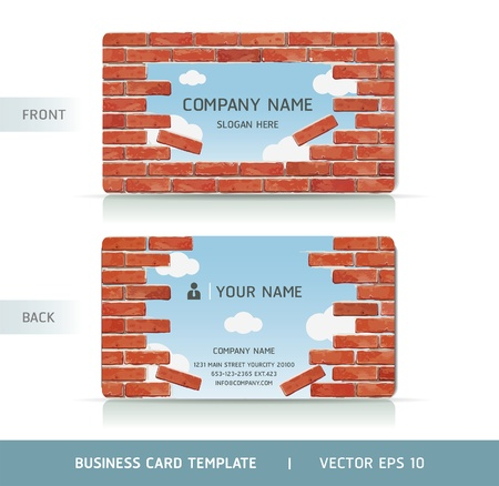 carte visite: Red Brick Business Card mur. Vector illustration