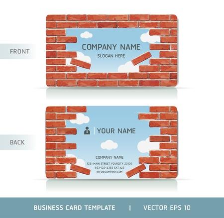 visitekaartje: Rode Bakstenen Muur Business Card. Vector illustratie