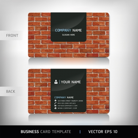 red card: Red Brick Wall Business Card . Vector illustration