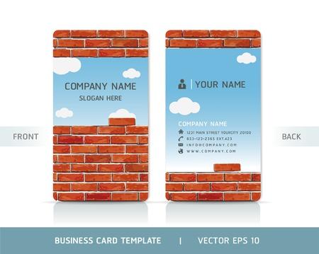 visitekaartje: Rode Bakstenen Muur Business Card. Vector illustratie.