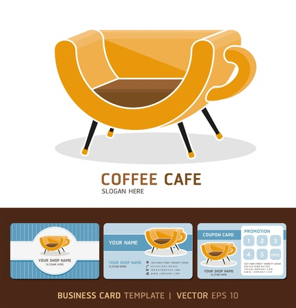 Coffee Cafe icon logo and business cards Vector illustration  EPS 10