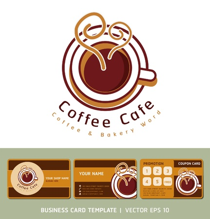 Coffee Cafe icon logo and business cards  Illustration