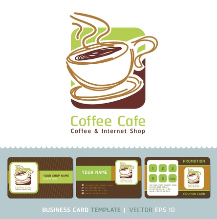 coffee: Coffee Cafe icon logo and business cards  Illustration