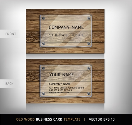 Old Wooden Texture Business Card Background  vector illustration Stock Vector - 18759354