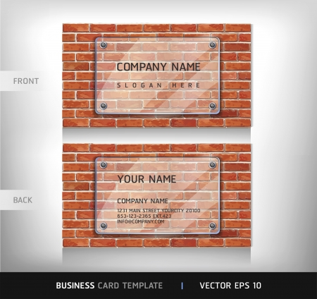 block note: Red Brick Wall Business Card   Vector illustration