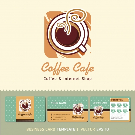 logo business: Coffee Cafe icon logo and business cards  Vector illustration   Illustration