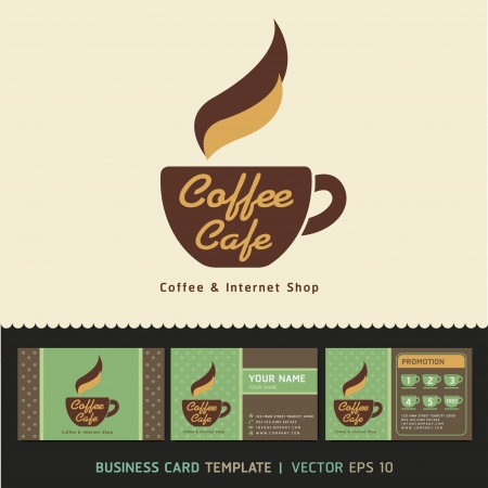 Coffee Cafe icon logo and business cards  Vector illustration   Stock Vector - 18759031