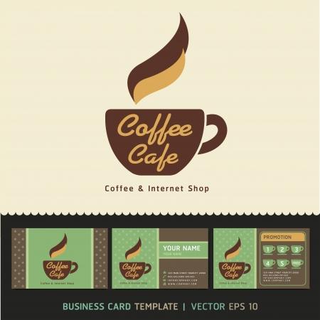 Coffee Cafe icono del logotipo y de negocios ilustración vectorial tarjetas