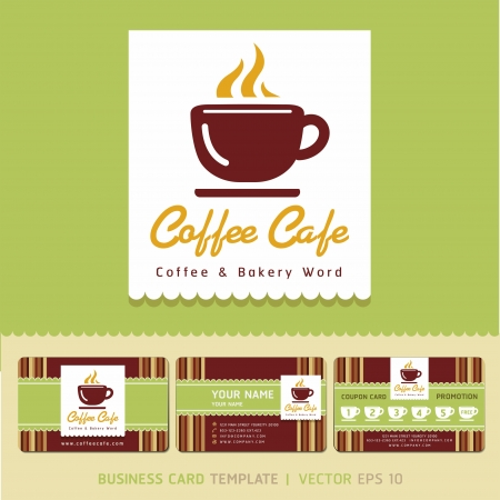 Coffee Cafe icon logo and business cards  Vector illustration   Vector