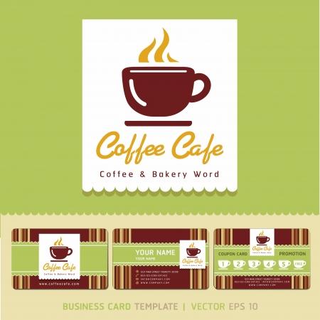 Coffee Cafe icono del logotipo y de negocios ilustración vectorial tarjetas Logos