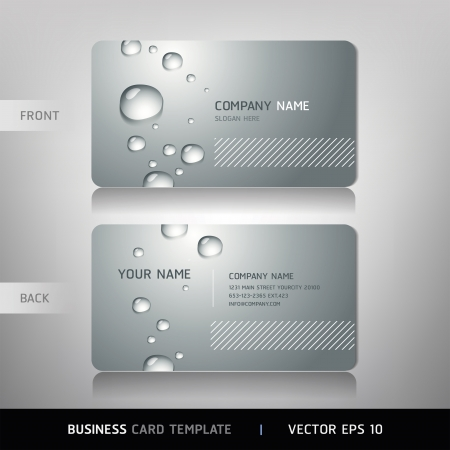 Business Card with water drop  Vector illustration   Ilustração