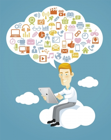 communication tools: Business man using a tablet sitting on a cloud with social media, communication icons