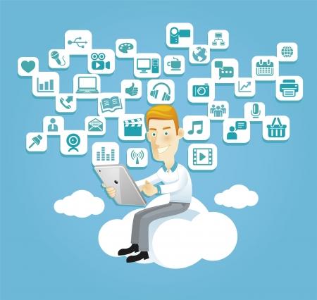 Geschäftsmann, der eine Tablette sitzt auf einer Wolke mit Social Media, Kommunikationsikonen verwendet