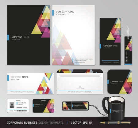 completed: Corporate identity business set Vector illustration