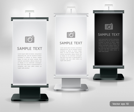 banner ads: Trade exhibition stand display. Vector.