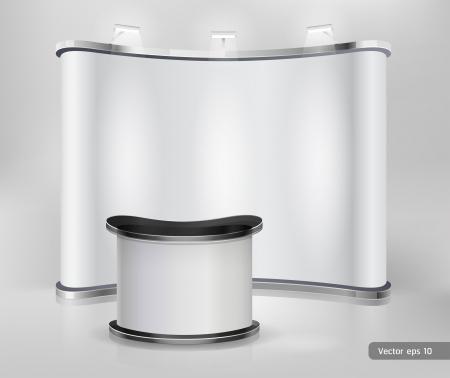 beursvloer: Trade beursstand display. Vector.