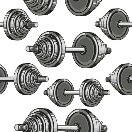 lifting weights: Dumbbells Seamless Pattern. Vector illustration