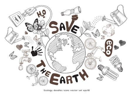Green world drawing concept. Save the earth. Ecology doodles icons vector set