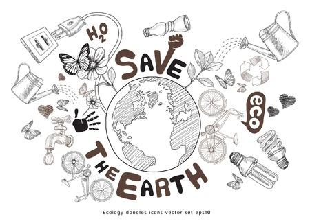 traino: Mondo verde concetto di disegno. Salvare la terra. Ecologia doodles icone vettoriali set