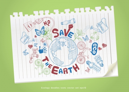 environment protection: Save the earth concept drawing on paper. Ecology doodles icons vector set