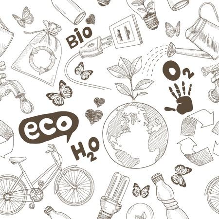 ciclo del agua: Dibujo Green world Guarde el concepto de la tierra. Garabatos Ecolog�a iconos de vector sin costura. Vectores