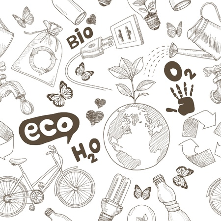 ecology: Green world drawing Save the earth concept. Ecology doodles icons vector seamless.