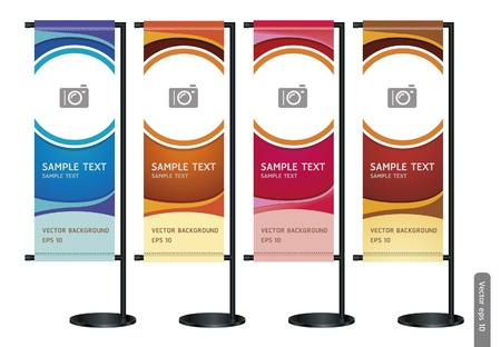 banner stand: Trade exhibition stand display with Abstract background. Vector illustration.