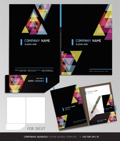 set template: Corporate Identity Business Set. Folder Design Template. Vector illustration.