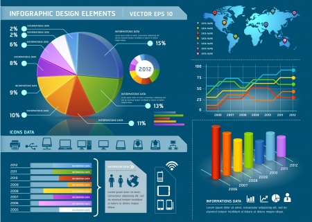 graficos de barras: Elementos de Infographic colorido con mapa del mundo y los gr�ficos de informaci�n. Ilustraci�n vectorial Vectores