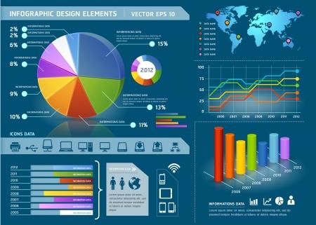 tourtes: �l�ments color�s Infographie avec carte graphique mondiale et de l'information. Vector illustration Illustration