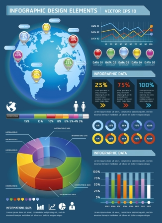 web graphics: Colorful Infographic Elements with global map and Information Graphics. Vector illustration