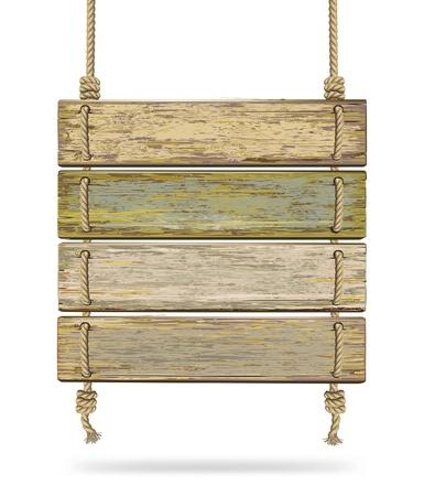uithangbord: Oude kleur houten plank met touw. Vector illustratie