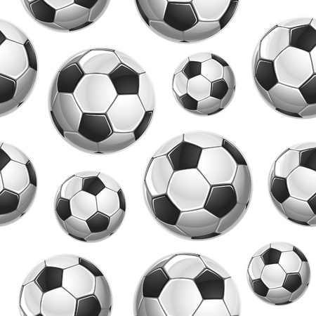 leather ball: Soccer Balls Seamless pattern. Ilustraci�n vectorial